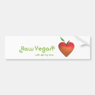 Rå vegan med all min kärlek (röd äpplehjärta) bildekal