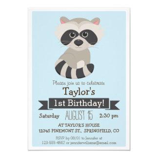 Raccoon djur barnfödelsedagsfest för skogsmark 12,7 x 17,8 cm inbjudningskort