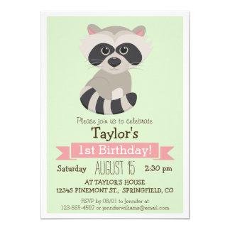 Raccoon djur barnfödelsedagsfest för skogsmark personliga inbjudan