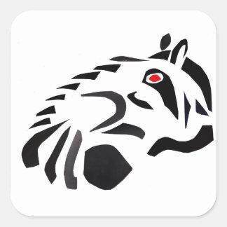 Raccoon Fyrkantigt Klistermärke