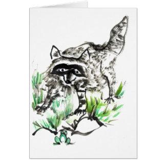 Raccoon och groda hälsningskort