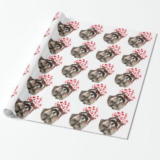 Raccoon som blåser kyssvattenfärg presentpapper