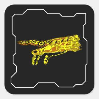 Räcka av en Cyborggud (gult) Fyrkantigt Klistermärke