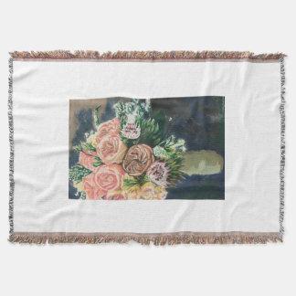 Räcka den målade blom- bukettkastfilten filt
