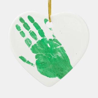 Räcka - grönt julgransprydnad keramik