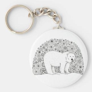 Räcka illustrerade den Artsy blom- polara björnen Rund Nyckelring