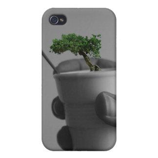 räcka kaffe med träd och hummingbirden iPhone 4 fodraler