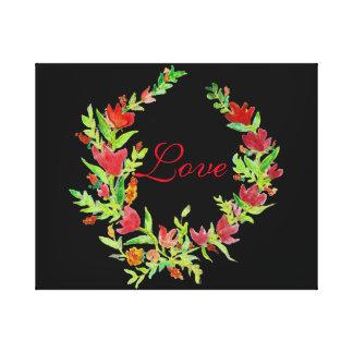 Räcka-Målad blom- kran på kanfas Canvastryck