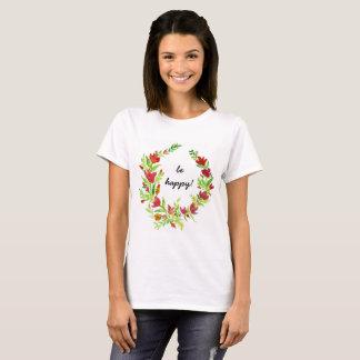 Räcka-målad florakran med text tshirts