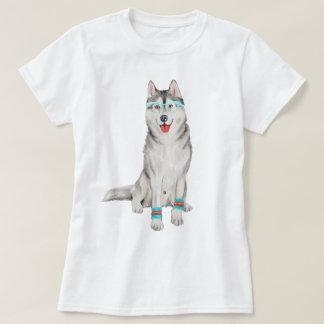 Räcka-målad Hipstersiberian huskyhund Tee