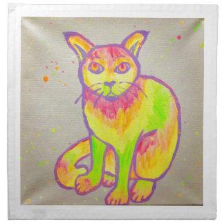 Räcka målade servetter för neonkatttrasan