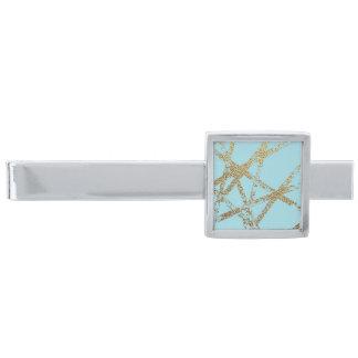 Räcka målat, guld fodrar turkos, modernt abstrakt slipsnål med silverfinish