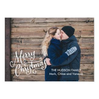 Räcka märkt god jul det fulla fotoet 12,7 x 17,8 cm inbjudningskort