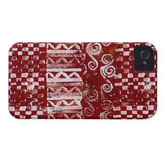 Räcka sned mönster på röd kanfas iPhone 4 Case-Mate case