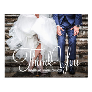Räcka vykortet för tack för bokstäverfotobröllop vykort