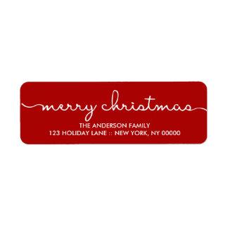 Räcker enkelt rött för god jul den märkte returadress etikett