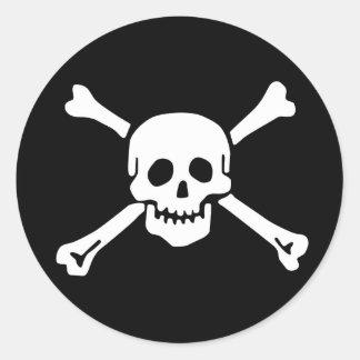 Räckviddlockklistermärke, Jolly Roger - stil 2 Runt Klistermärke
