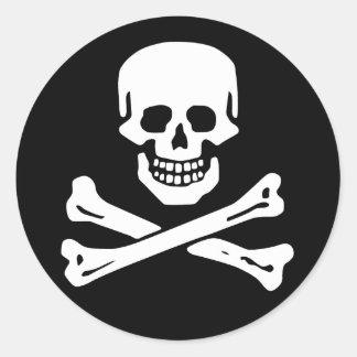 Räckviddlockklistermärke, Jolly Roger - stil 6 Runt Klistermärke