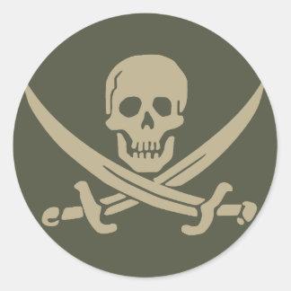 Räckviddlockklistermärke, Jolly Roger - stil 8 Runt Klistermärke