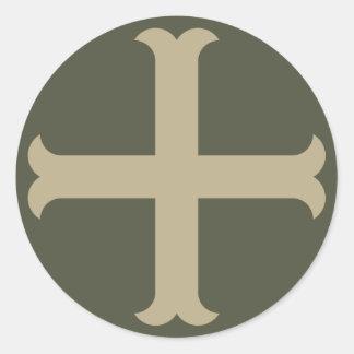 Räckviddlockklistermärke, korsfararekor - stil 3 runt klistermärke