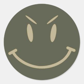 Räckviddlockklistermärke, ond smiley face, stil 2 runt klistermärke
