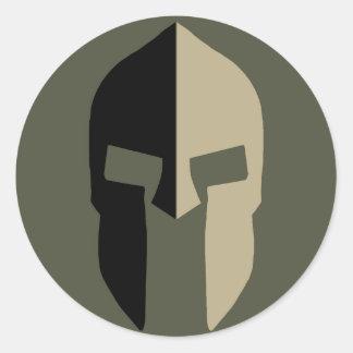 Räckviddlockklistermärke, spartansk hjälm - stil 2 runt klistermärke