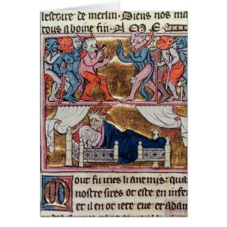Råd av demoner, från 'l'Histoire de Merlin' Hälsningskort