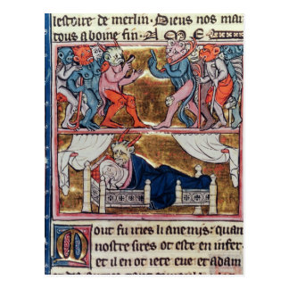 Råd av demoner, från 'l'Histoire de Merlin' Vykort