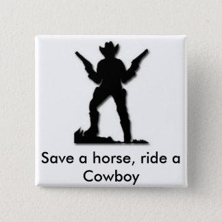 Rädda en häst rider en Cowboy Standard Kanpp Fyrkantig 5.1 Cm