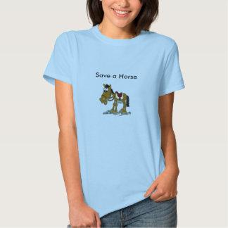 Rädda en hästritt en cowboy t-shirt
