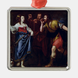Rahab och emissariesna av Joshua Silverfärgad Fyrkantigt Julgransprydnad