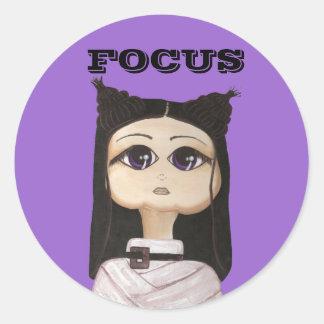 Raka jackaQuantum Cutie behov fokuserar Runt Klistermärke