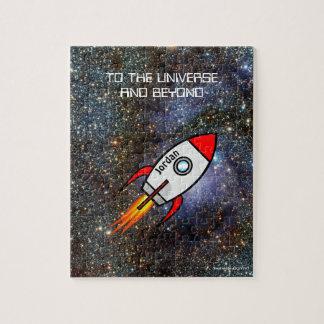 Raket för för astronomianpassningsbarnamn och text pussel