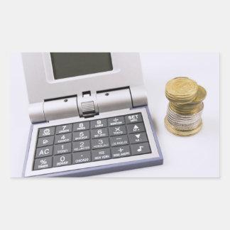 Räknemaskin och mynt rektangulärt klistermärke