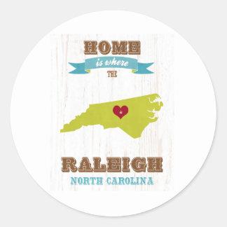 Raleigh hem- North Carolina karta - är var Runt Klistermärke