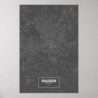 Raleigh North Carolina (vit på svart) Poster
