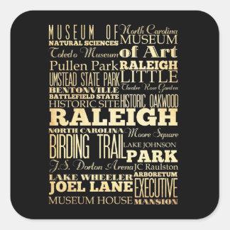 Raleigh stad av North Carolina statlig typografi Fyrkantigt Klistermärke