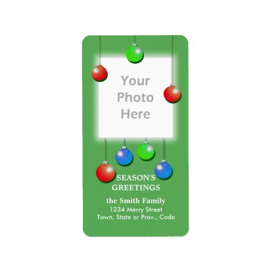 Ram för foto för helgdagprydnadar högväxt adressetikett