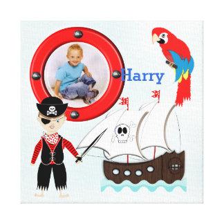 Ram för foto för ungar för fraktAhoy pirat Themed Canvastryck