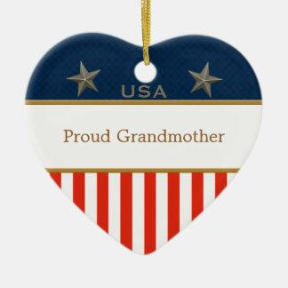 Ram för hjärta USA för stolt farmor patriotisk Julgransprydnad Keramik