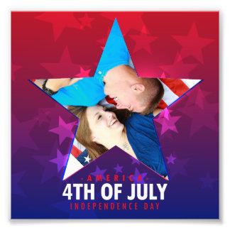Ram för Juli fjärde stjärna formad röd blåttfoto Fototryck