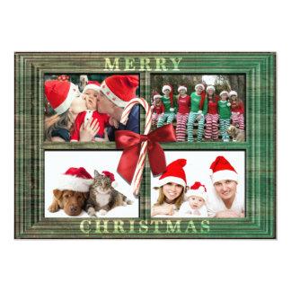 Ram för lantlig Faux för god julfotokort Wood 12,7 X 17,8 Cm Inbjudningskort
