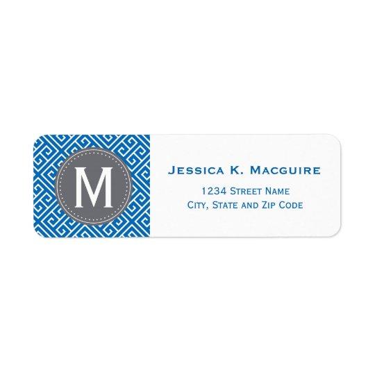 Ram för Monogram för grått för mönster för blåttgr Returadress Etikett