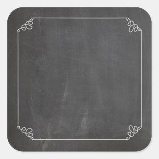 Ramen för krusidullen för svart tavlavintagevit fyrkantigt klistermärke