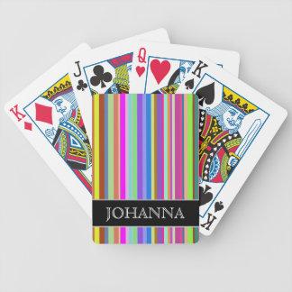 Randar av olika färger + Anpassningsbarnamn Spelkort