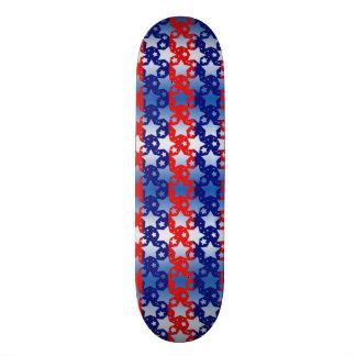 Randar för blått för blåttvitstjärnor röda skateboard bräda 20,5 cm