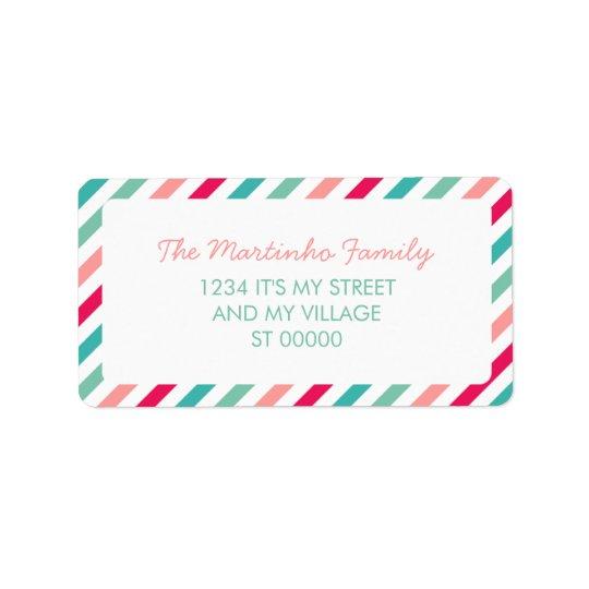 Randar för Diagonal för färgrika randAquablått Adressetikett