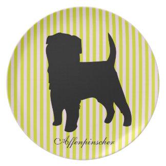 Randar för för Affenpinscherhundgrönt & rosor Tallrikar