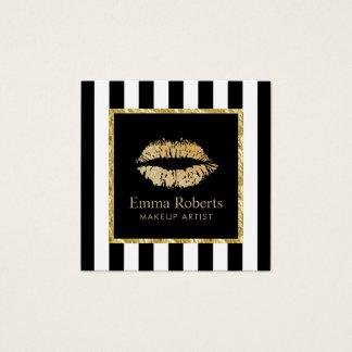 Randar för guld- salong för läppar för fyrkantigt visitkort