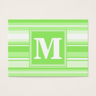 Randar för Monogramlimefruktgrönt Set Av Breda Visitkort